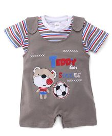 Olio Kids Dungaree With T-Shirt Teddy Print - Brown