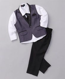 Robo Fry 3 Piece Party Suit With Tie - Navy Blue White Black