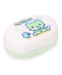 Bath Sponge With Cat Print - Green White