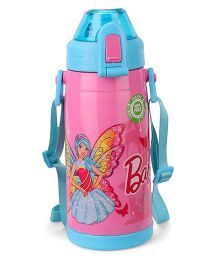 Barbie Double Walled Water Bottle Born To Shine Print Medium  Pink - 400 ml