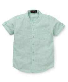 Robo Fry Half Sleeves Mandarin Collar Solid Color Shirt - Green