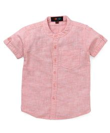Robo Fry Half Sleeves Mandarin Collar Solid Color Shirt - Pink