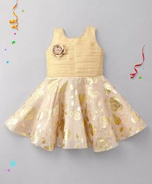 Bluebell Sleeveless Party Wear Frock With Floral Design - Golden