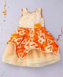 Bluebell Sleeveless Party Wear Frock Flower Applique - Orange Golden