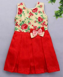 Bluebell Sleeveless Partywear Frock With Embroidery - Red