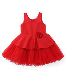 Bluebell Sleeveless Partywear Frock With Floral Corsage - Red