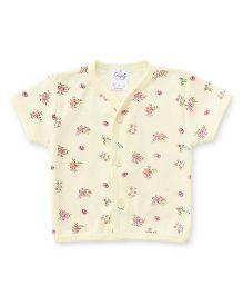Simply Half Sleeves Flower Printed Vest - Yellow