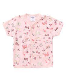 Simply Half Sleeves Butterfly Printed Vest - Peach