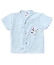 Simply Half Sleeves Flower Printed Vest - Blue