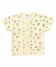Simply Half Sleeves Vest Floral Print - Yellow