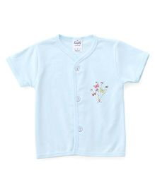 Simply Half Sleeves Vest Butterfly Print - Blue