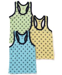 Simply Sleeveless Vests Set Of 3 - Green Yellow Blue