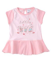 Simply Short Sleeves Frock Little Print - Pink