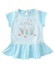 Simply Short Sleeves Frock Little Print - Blue