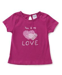 Simply Half Sleeves Tee Love Print - Purple