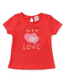 Simply Half Sleeves Tee Love Print - Red