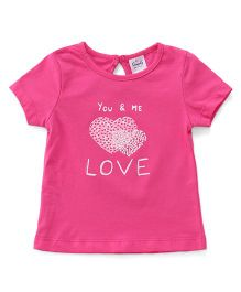 Simply Half Sleeves Tee Love Print - Pink