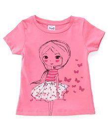Simply Half Sleeves Tee Girl Printed - Pink