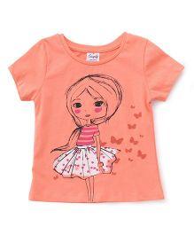 Simply Half Sleeves Tee Girl Printed - Orange