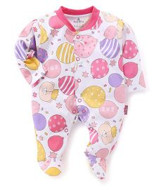 Child World Full Sleeves Sleepsuit Balloons Print - Pink