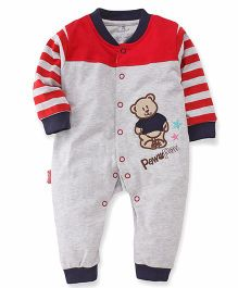 Child World Full Sleeves Romper Teddy Embroidery - Grey Red