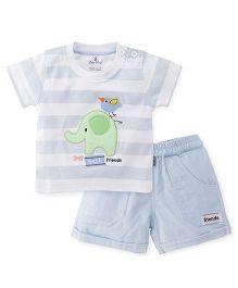 Child World Half Sleeves T-Shirt And Shorts Set Elephant Patch - Sky Blue White