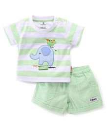 Child World Half Sleeves T-Shirt And Shorts Set Elephant Patch - Green