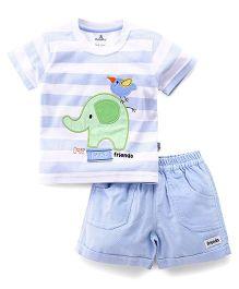 Child World Half Sleeves T-Shirt And Shorts Set Elephant Patch - Blue
