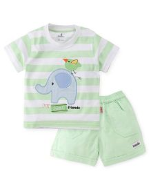Child World Half Sleeves T-Shirt And Shorts Set Elephant Patch - Green White
