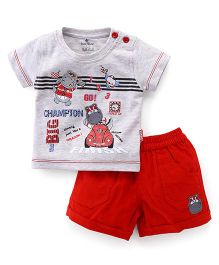 Child World Half Sleeves T-Shirt Race Print And Shorts - Grey Red