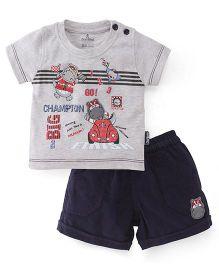 Child World Half Sleeves Printed T-Shirt And Shorts - Grey Navy