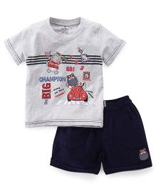 Child World Half Sleeves T-Shirt And Shorts Set Hippo Patch - Blue