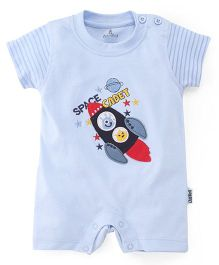 Child World Short Sleeves Romper Rocket Patch - Sky Blue