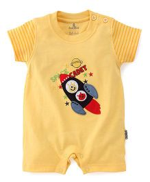Child World Short Sleeves Romper Rocket Patch - Yellow