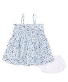 Young Birds Shirring Dress With Bloomer - Turquoise