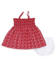 Young Birds Small Flower Shirring Dress With Bloomer - Red