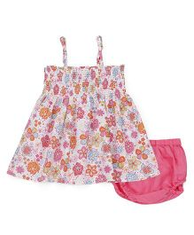 Young Birds Floral Shirring Dress With Bloomer - Pink
