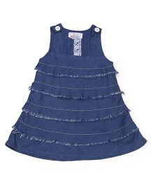Young Birds Denim Chambray Fringed Layered Dress - Blue