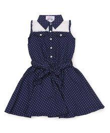 Young Birds Star Print Dress - Navy Blue