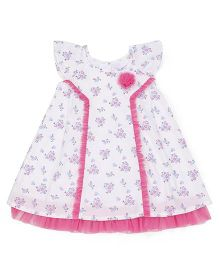 Young Birds Flower Pleated Dress - Pink