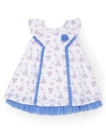 Young Birds Flower Pleated Dress - Blue