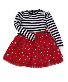 Young Birds Heart Print Stripe Knit & Woven Dress - Red