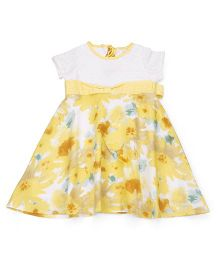 Young Birds Blossom Print Dress - Yellow