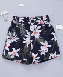 Hugsntugs Floral Shorts For Girls - Navy Blue
