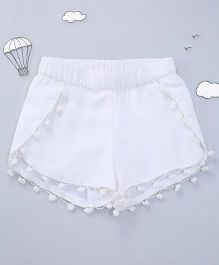 Hugsntugs Shorts With Pom Poms - White
