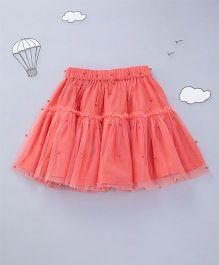 Hugsntugs Net Skirt With Pearls - Orange