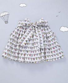 Hugsntugs Cat Print Skirt - White
