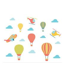 Little Jamun Hot Air Balloon Wall Sticker Multi Color - Medium Size