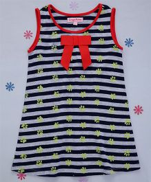 Crayonflakes Animals Footprints Straight Knit Dress - Navy Blue & Red