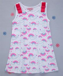 Crayonflakes Double Bow Rainbow Printed Straight Knit Dress - White & Blue